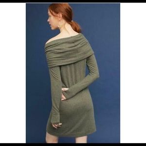 Anthro Michael Stars Green Cowl Neck Sweater Dress